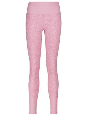 Różowe legginsy z nylonu Alo Yoga