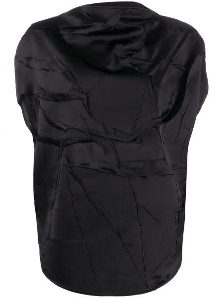 Z rękawami czarny bluzka z krótkim rękawem z wiskozy Mm6 Maison Margiela