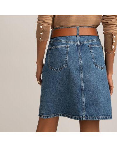 Хлопковая расклешенная синяя юбка мини Laredoute