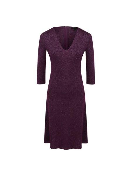 Фиолетовое приталенное платье из вискозы с декоративной отделкой St. John