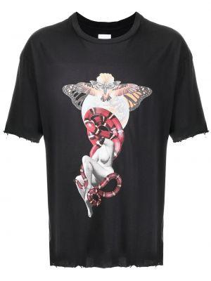 Czarny t-shirt bawełniany z printem Alchemist