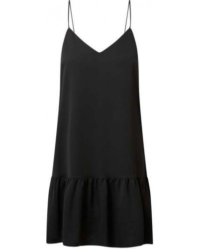 Sukienka rozkloszowana z falbanami - czarna Modström