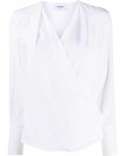 С рукавами белая шелковая блузка с длинным рукавом с запахом Dondup