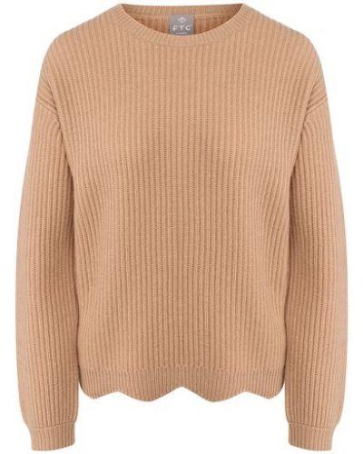 Коричневый кашемировый свитер со спущенными плечами Ftc