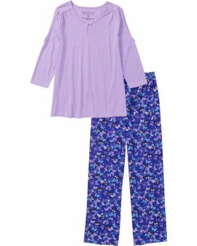 Пижама с брюками с принтом фиолетовый Bonprix