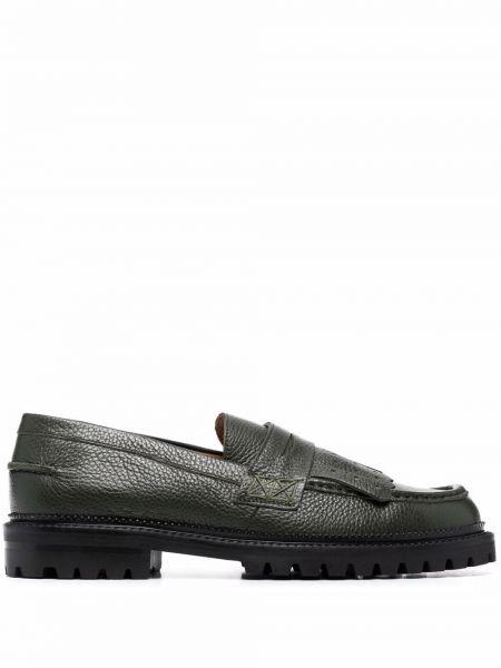 Зеленые кожаные туфли Etro