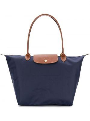 Brązowa torebka duża bawełniana oversize Longchamp