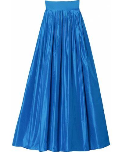 Niebieska spódnica maxi z wysokim stanem z jedwabiu Carolina Herrera