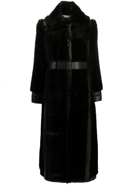 Черное длинное пальто с воротником с карманами Stella Mccartney