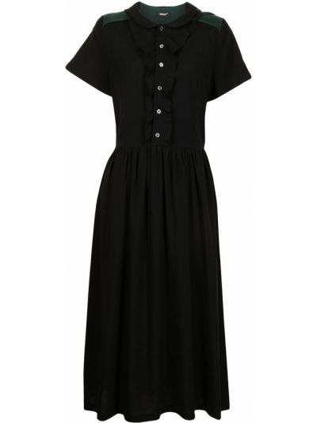 Прямое черное платье мини с короткими рукавами Undercover