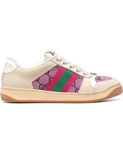 Klasyczne beżowe sneakersy skorzane Gucci