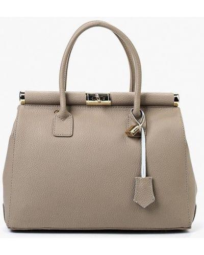Бежевая сумка с ручками из натуральной кожи Roberta Rossi