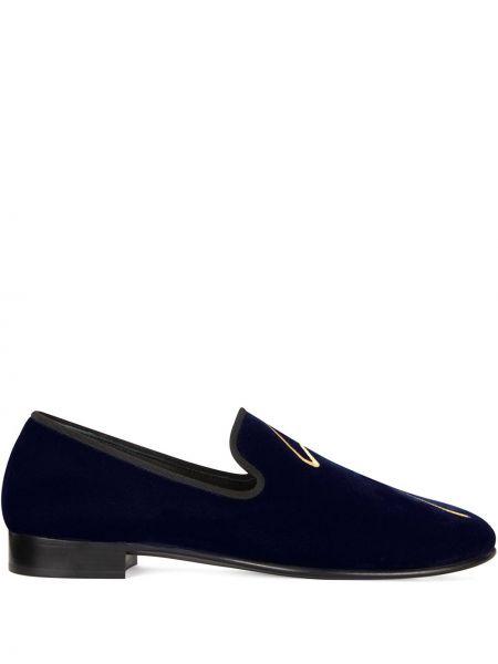 Niebieski skórzany loafers okrągły nos Giuseppe Zanotti
