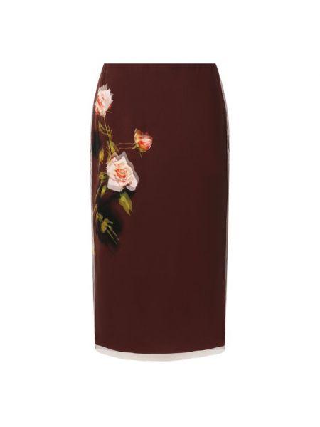 Юбка карандаш бордовый с цветочным принтом Dries Van Noten