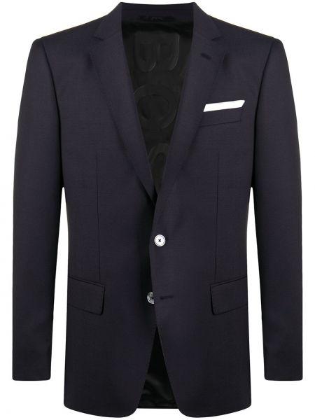 Однобортный приталенный синий удлиненный пиджак Boss Hugo Boss
