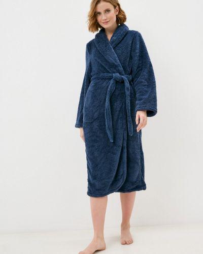 Флисовый синий домашний халат Hunkemoller