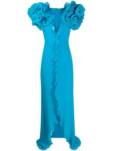 Приталенное шелковое платье макси на молнии с оборками Alessandra Rich