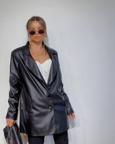 Кожаный пиджак - черный Srs
