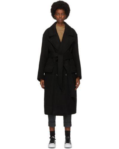 Черное шерстяное длинное пальто с поясом с воротником Ami Alexandre Mattiussi