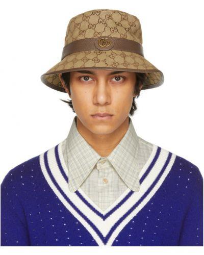 Ватные бежевые кожаные шляпа-федора Gucci