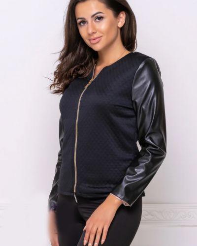 Кожаный пиджак - черный Fashion Woman