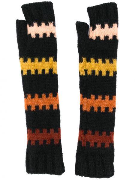 Czarne rękawiczki bez palców wełniane z printem Plan C