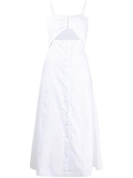 Белое платье миди с оборками на пуговицах без рукавов Ba&sh