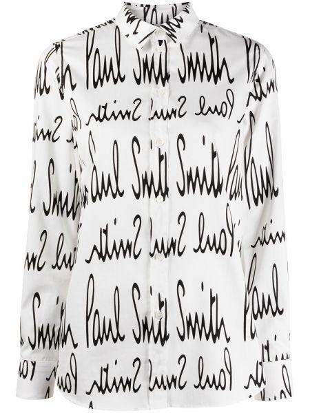 Шелковая белая классическая рубашка с воротником Paul Smith
