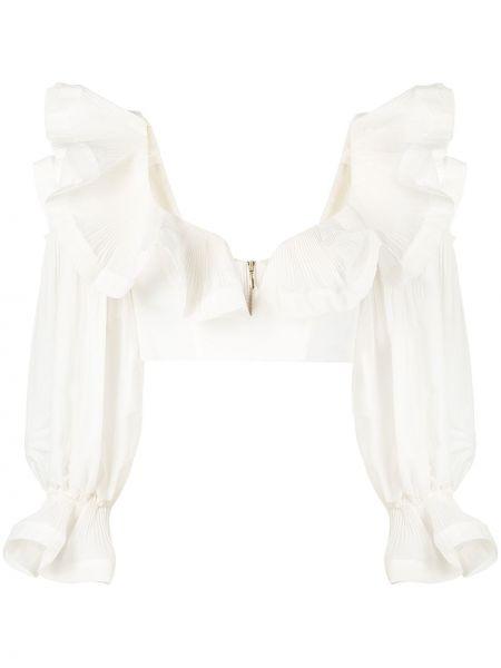 Белая блузка с вырезом на молнии Zimmermann