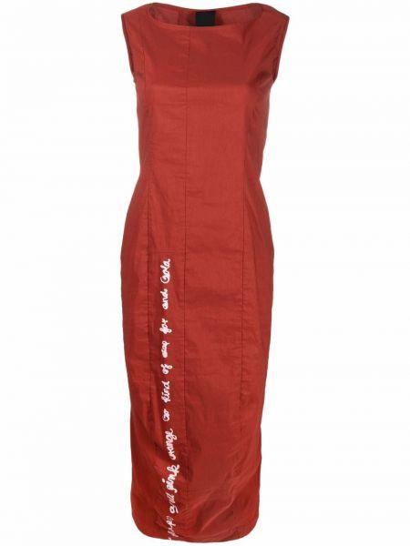 Красное платье миди с вырезом с принтом Rundholz