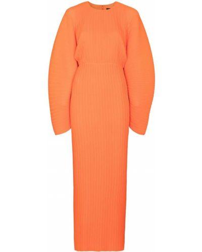 Оранжевое платье макси круглое с круглым вырезом Solace London