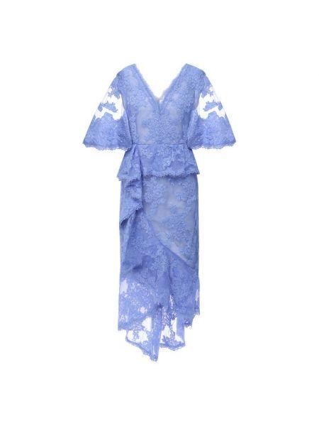 Шелковое синее платье миди с подкладкой Marchesa