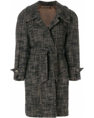 Синее шерстяное пальто классическое с капюшоном Thierry Mugler Pre-owned