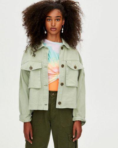Джинсовая куртка весенняя зеленая Pull&bear