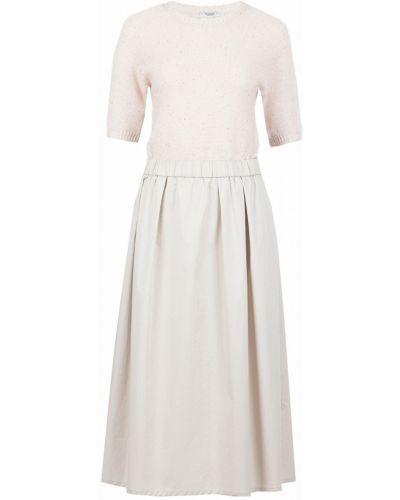 Платье миди розовое с поясом Peserico