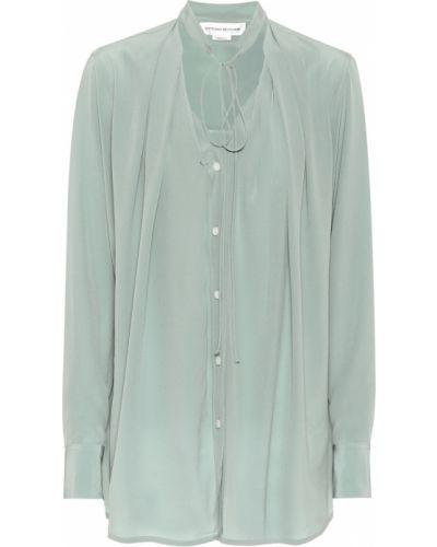 Синяя шелковая блузка Victoria Beckham