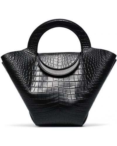Черная сумка из крокодила Bottega Veneta