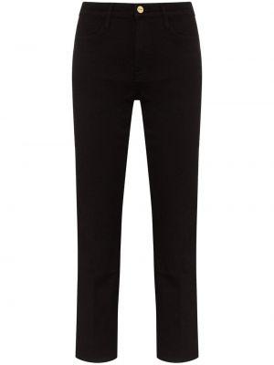 Хлопковые черные прямые джинсы с карманами на пуговицах Frame