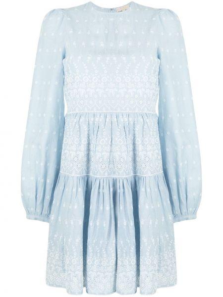 Niebieska sukienka mini rozkloszowana z długimi rękawami Bytimo