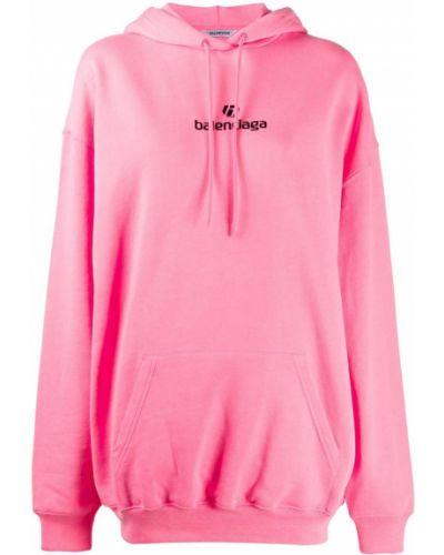 Bawełna różowy bluza z kapturem z kapturem z mankietami Balenciaga