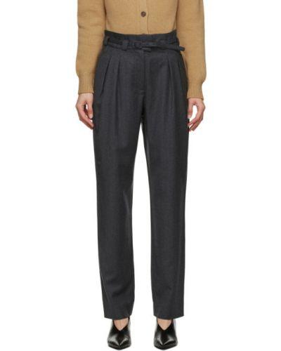 Шерстяные серебряные брюки с карманами с пряжкой A.p.c.