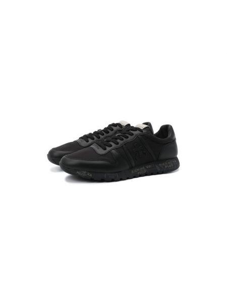 Комбинированные текстильные водонепроницаемые черные кроссовки Premiata