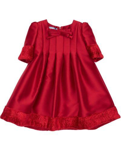 Бархатное с рукавами красное платье мини Mi.mi.sol.
