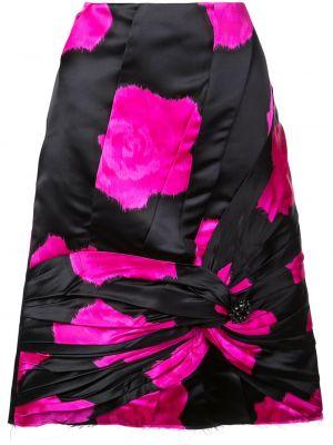 Czarna spódnica mini z wysokim stanem z jedwabiu Calvin Klein 205w39nyc