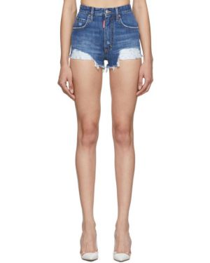 Джинсовые шорты с завышенной талией пляжные Dsquared2