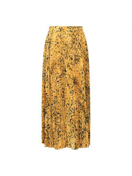 Шелковая юбка миди в рубчик с подкладкой Escada