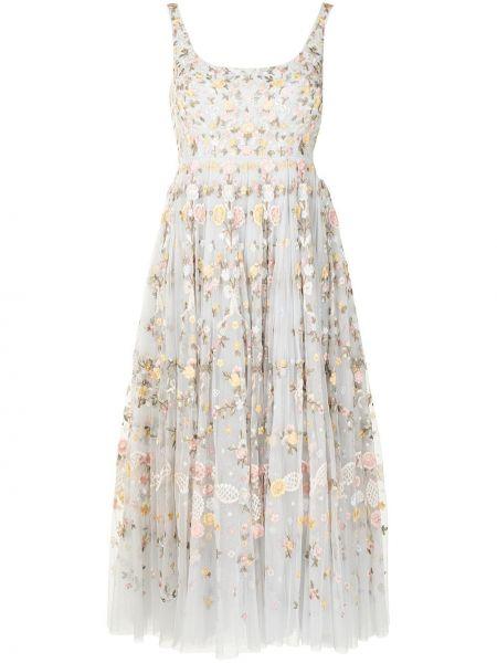 Платье миди в цветочный принт - синее Needle & Thread