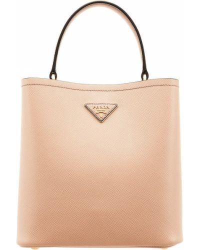 Золотистая сумка на руку из натуральной кожи прямоугольная Prada