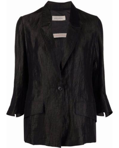 Льняной черный пиджак с карманами Gentry Portofino