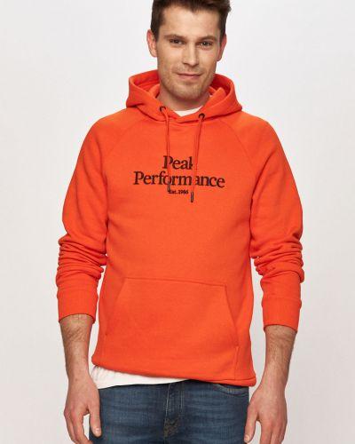 Pomarańczowa bluza z kapturem bawełniana Peak Performance